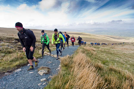 Fellsman competitors tackle Ingleborough. Less than a third would make it to the finish