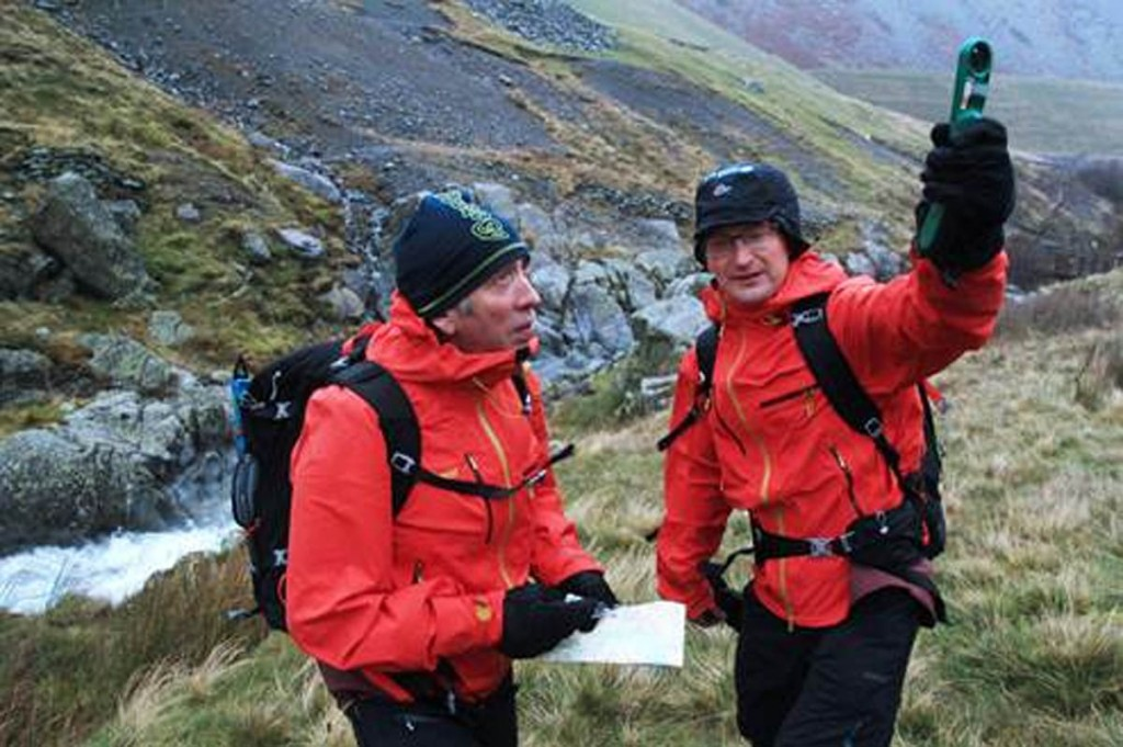 Felltop assessors Graham Uney, left, and Jon Bennett on the route up Helvellyn