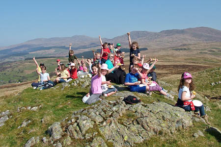 Piece of cake: children from Ysgol Gynradd Brithdir celebrate the new path