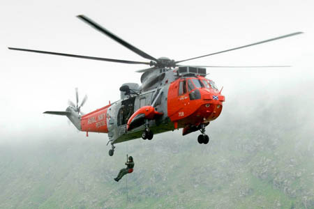 The first climber was winched from the North Face by the crew of the Royal Navy Sea King