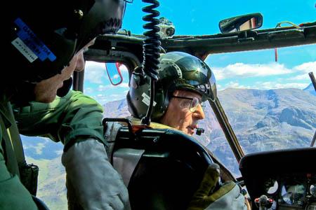 Captain 'Jack' Frost in the mountains chatting to reporter Simon Boazman. Photo: BBC