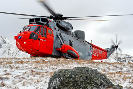 A Royal Navy Sea King helicopter had to land after developing technical problems. Photo: Stuart Hill/MoD