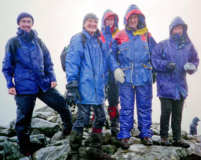 Dr McPartlin completing the munros in record setting group of five, including, Fr Gemmell, centre, the only monsignor to complete the munros