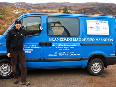 Gerry will travel between the munros and sleep in his camper van