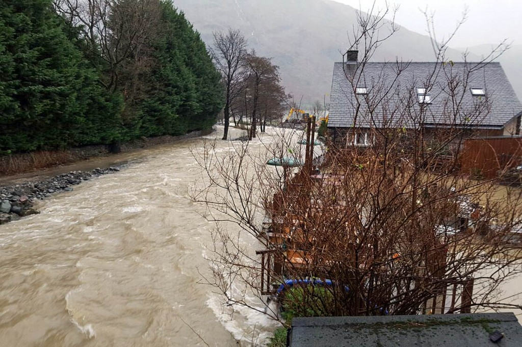 Flooding at Glenridding, where the Glenridding Hotel was inundated for the third time. Photo: Selina Ali