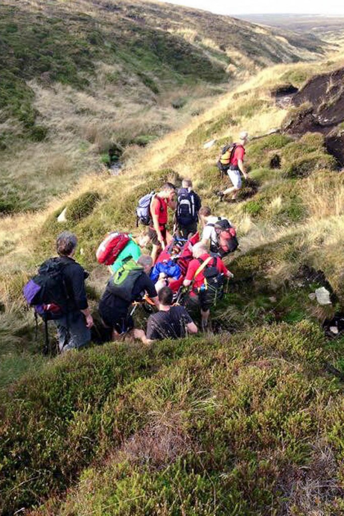 Rescuers at the site on Bleaklow. Photo: Glossop MRT