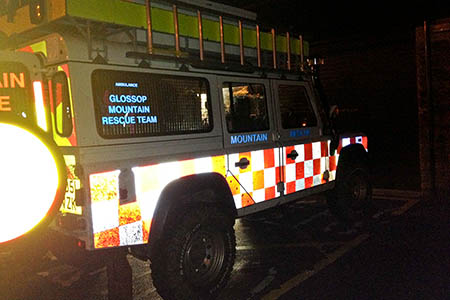 The Glossop team's Land Rover was used in the rescue. Photo: Glossop MRT