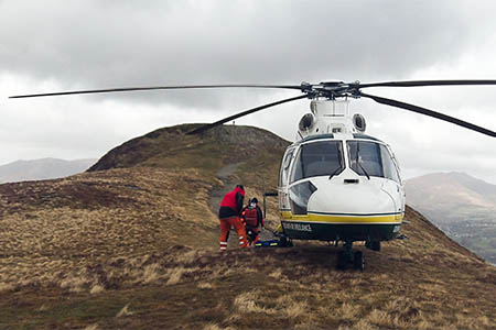 The Great North Air Ambulance on Cat Bells. Photo: GNAA