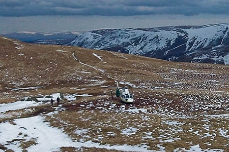 The air ambulance landed between High Dodd and Place Fell. Photo: Great North Air Ambulance