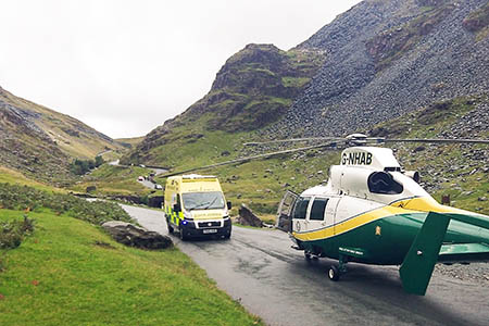 The scene on the Honister Pass after the incident. Photo: GNAA