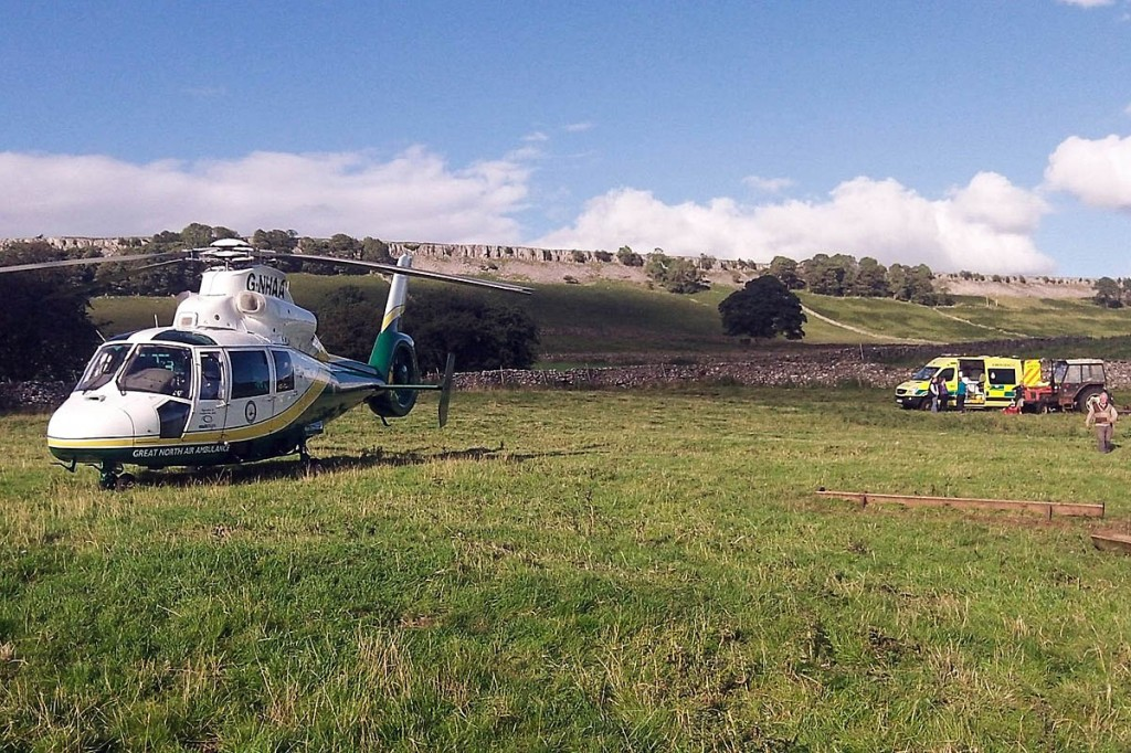 The Great North Air Ambulance at the site of the incident at Redmire in Wensleydale. Photo: GNAAS