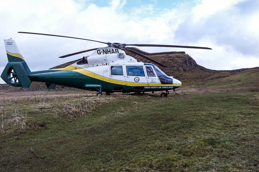 The Great North Air Ambulance's helicopter at the scene on Hadrian's Wall. Photo: GNAAS