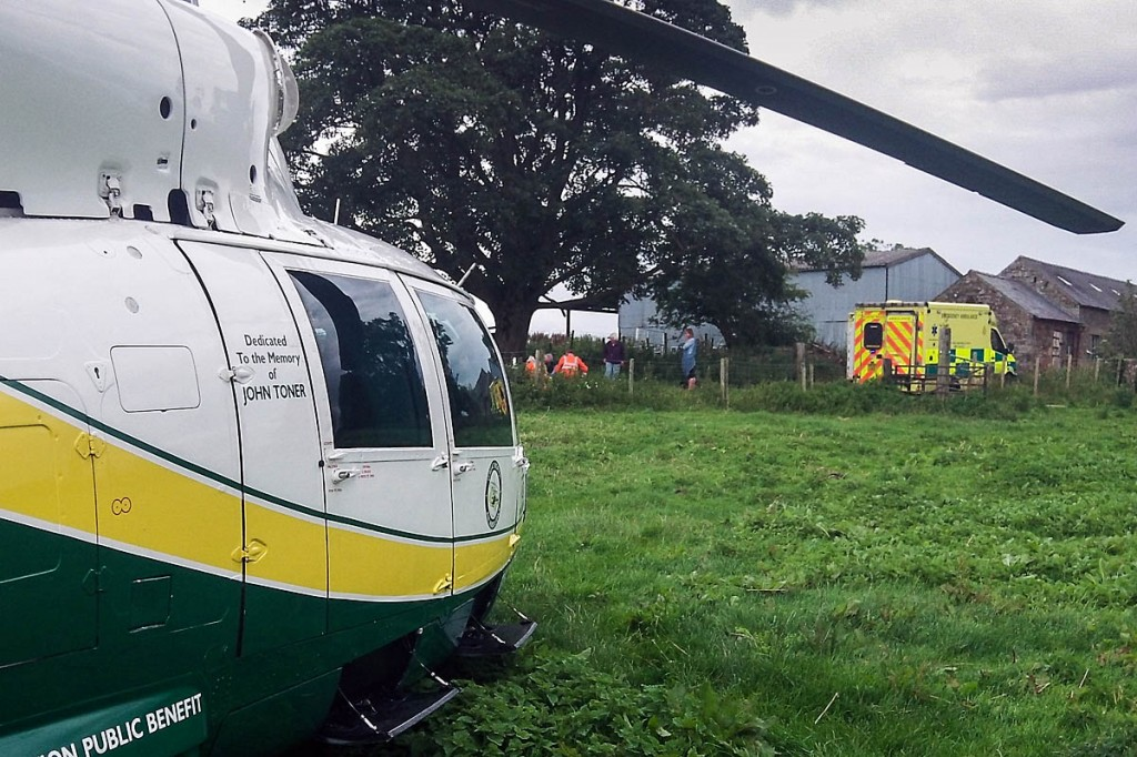 The Great North Air Ambulance at the site of the incident near Brampton. Photo: GNAAS