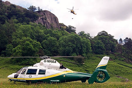 The Great North Air Ambulance and RAF helicopters attended both incidents. Photo: GNAAS