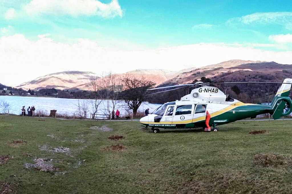The Great North Air Ambulance at the scene on the shore of Grasmere. Photo: GNAAS
