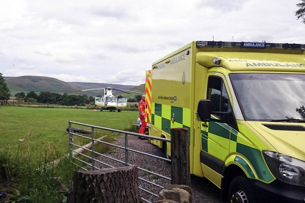 The Great North Air Ambulance and ambulance staff at the scene of the incident. Photo: GNAAS