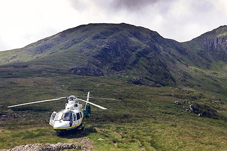 The Great North Air Ambulance at the scene of the second incident. Photo: GNAAS