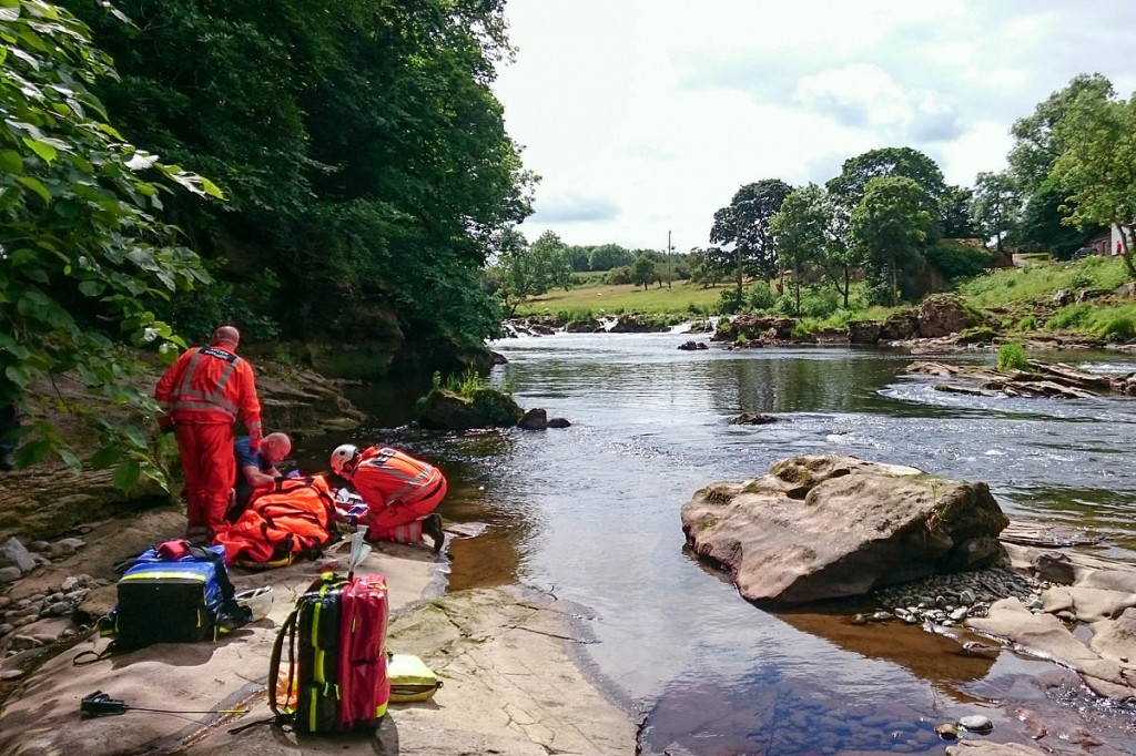 The rescue scene on the banks of the River Eden. Photo: GNAAS