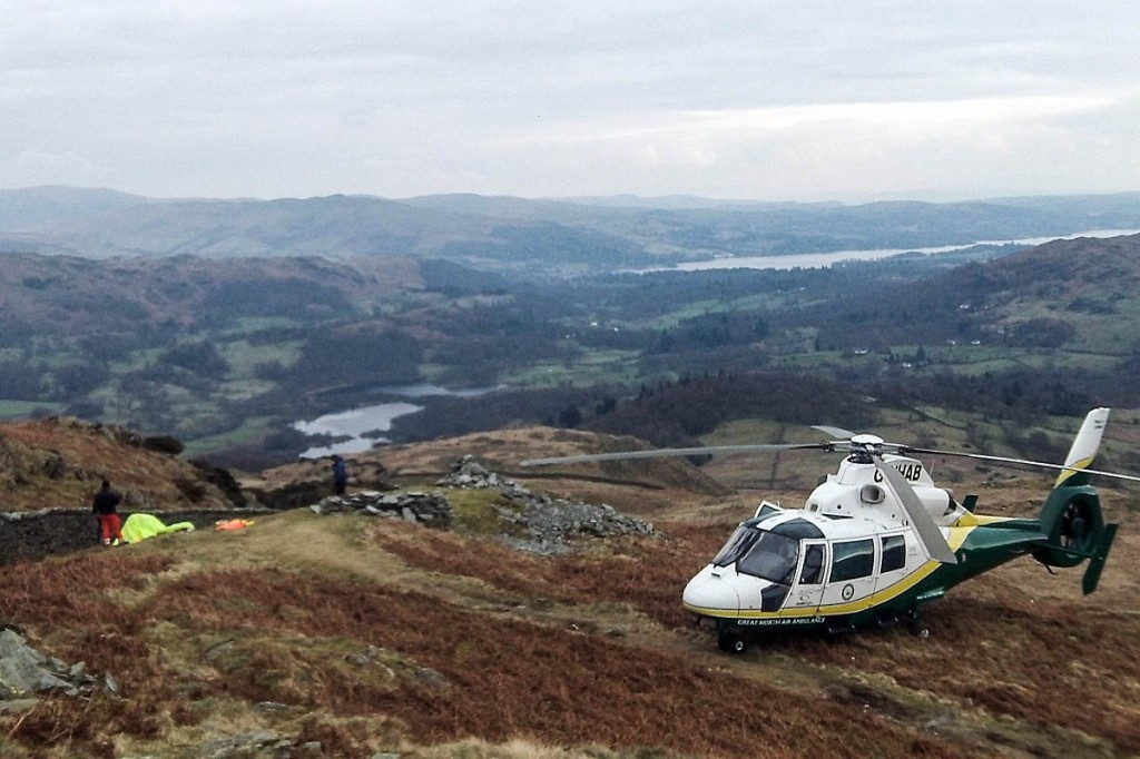 The rescue scene on Lingmoor Fell. Photo: GNAAS