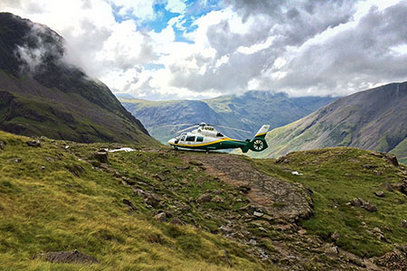 The Great North Air Ambulance at the site near the Corridor Route leading to Scafell Pike. Photo: GNAAS