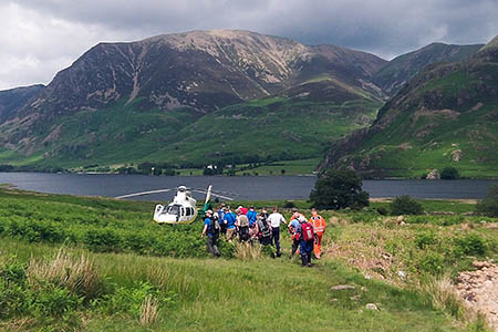 Cockermouth MRT members and Great North Air Ambulance crew at the scene near Scale Force. Photo: GNAAS