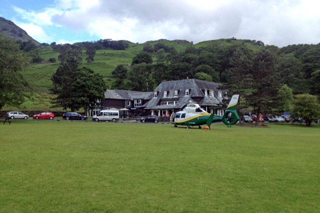 The air ambulance at the scene at Seatoller. Photo: GNAAS