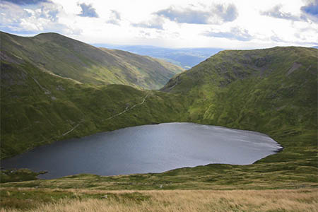 The walkers were found at Grisedale Hause, centre
