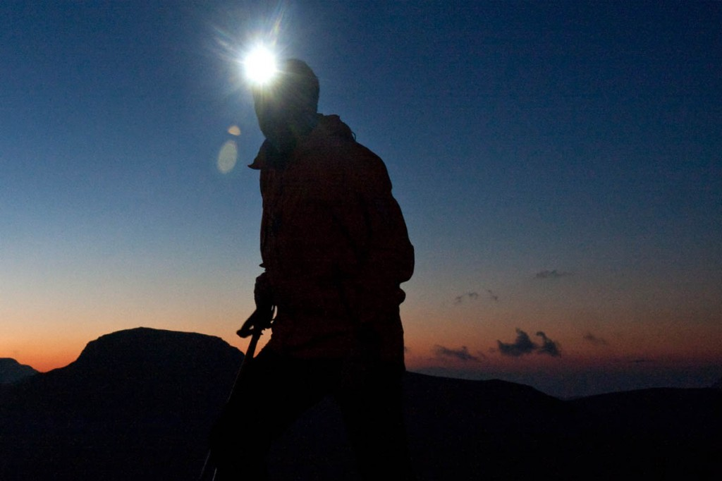 A headtorch is an essentail piece of kit for anyone heading for the hills. Photo: Bob Smith/grough