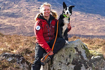 Heather Morning, with her search dog Milly