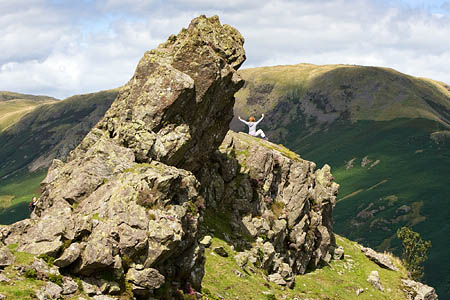 Helm Crag, the rocky top of which defeated Wainwright, is on the itinerary