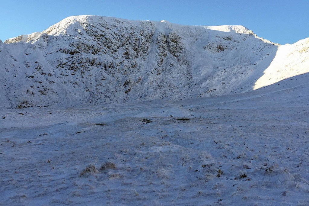 The man fell from Swirral Edge, right, on Helvellyn. Photo: Mike Blakey