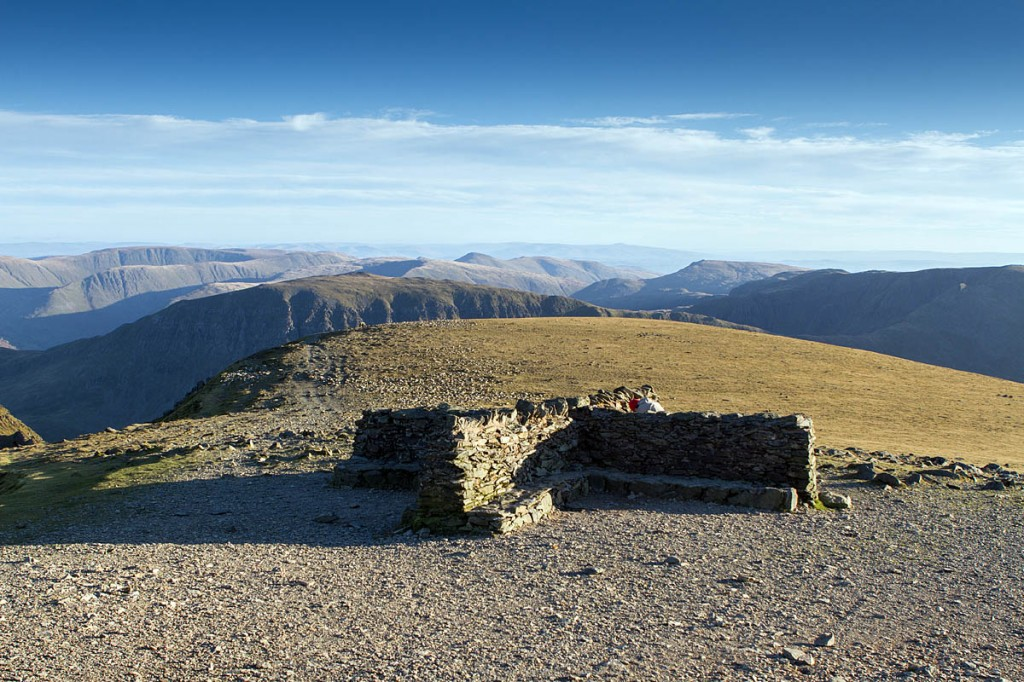 The hypothermic walkers were found at Helvellyn's summit shelter. Photo: Bob Smith/grough