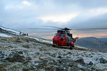The Sea King helicopter on the hillside at the Scafell rescue. Photo: Royal Navy