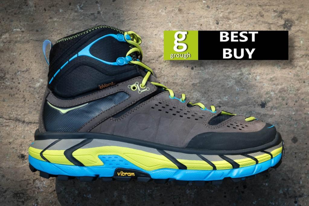 The Hoka One One boots have a striking chunky sole