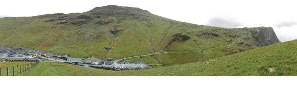 A composite panorama of the area produced by the Friends, with Fleetwith Pike, far right, where the proposed zip wire would start, running down into Honister Slate Mine, left