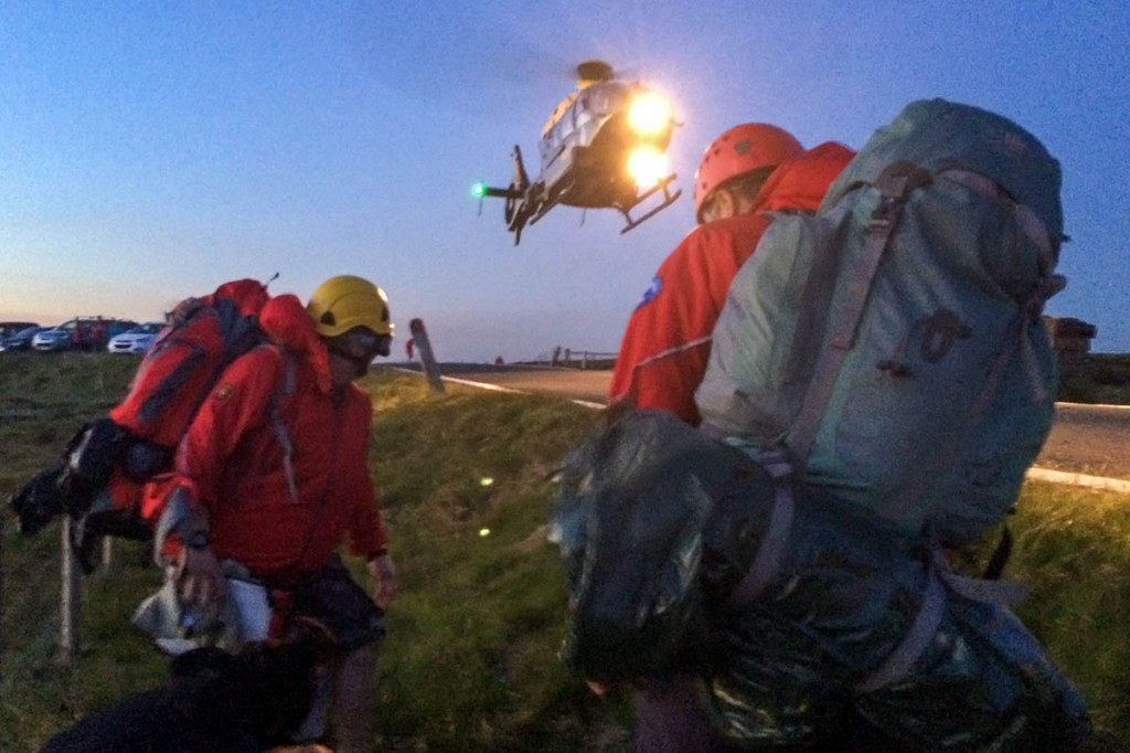 The police helicopter joined the operation at Holme Moss summit. Photo: Holme Valley MRT
