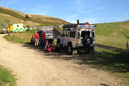 The Holme Valley team in action during the Wessenden incident. Photo: Holme Valley MRT