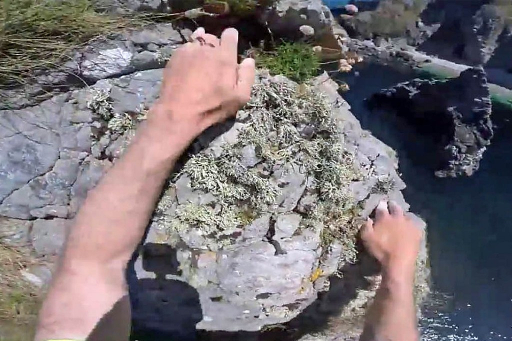 A still from Iain Miller's YouTube video of the Cnoc na Mara climb