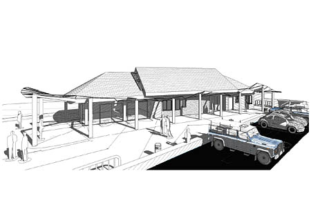 An architect's drawing of the planned new building