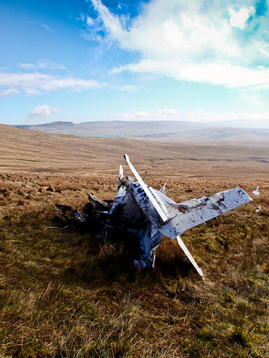 The wreckage of the plane on Ingleborough's slopes, near Fell Beck Head. Photo: Cave Rescue Organisation