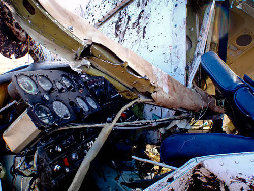 The cockpit of the stricken aircraft. Photo: Cave Rescue Organisation