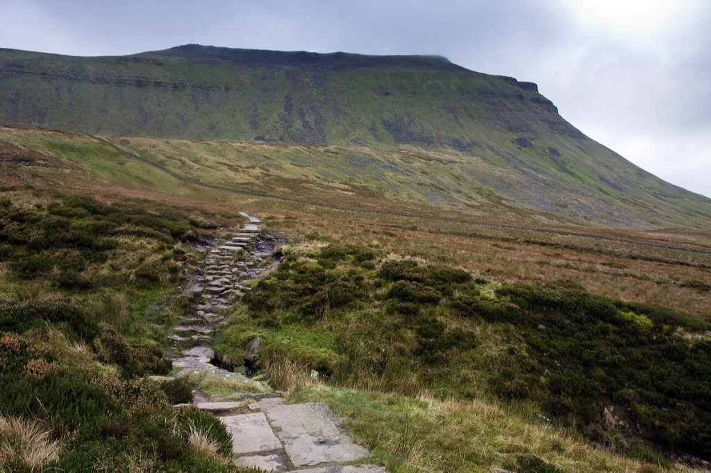 The walkers had descended to the western side of Ingleborough