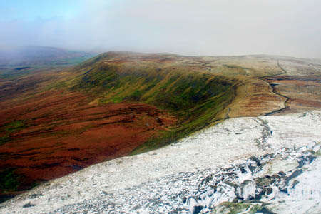 The repaired path leads to Ingleborough's summit from Chapel-le-Dale