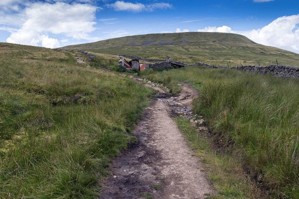 The path leading past the derelict shooting hut on Ingleborough