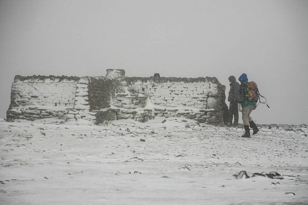 The walkers were unable to find the cross shelter on Ingleborough's summit