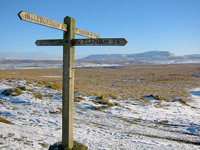 The Sulber 'crossroads' with Pen-y-ghent in the distance