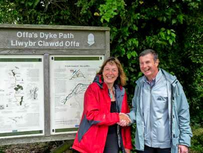 Jane Davidson and Ramblers Cymru chair Denis McAteer