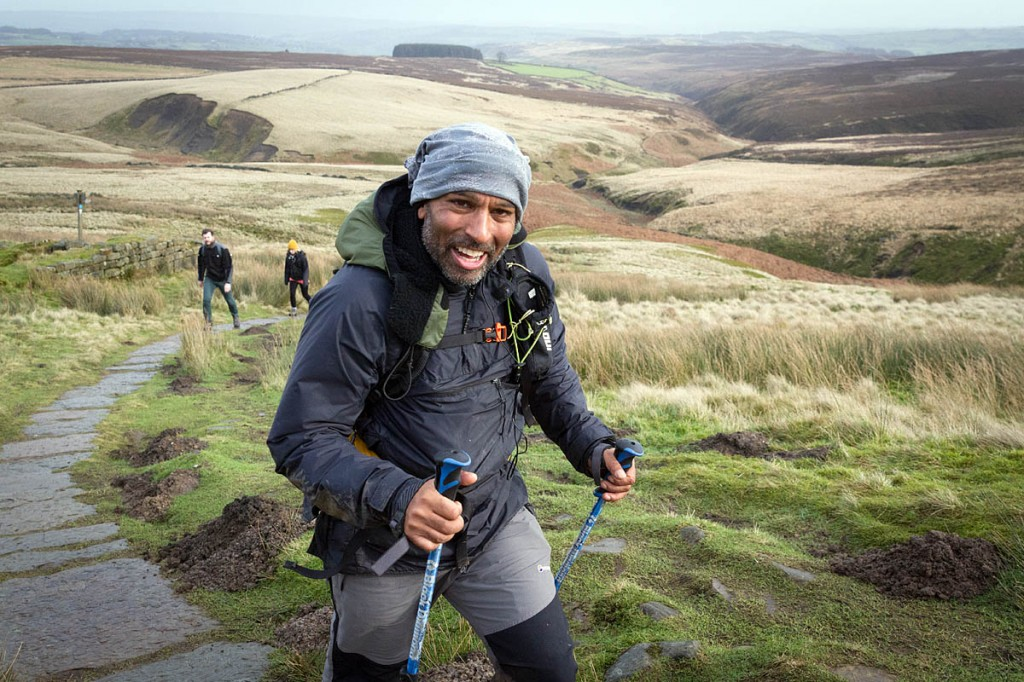 Javed Bhatti approaches Top Withins on the Pennine Way