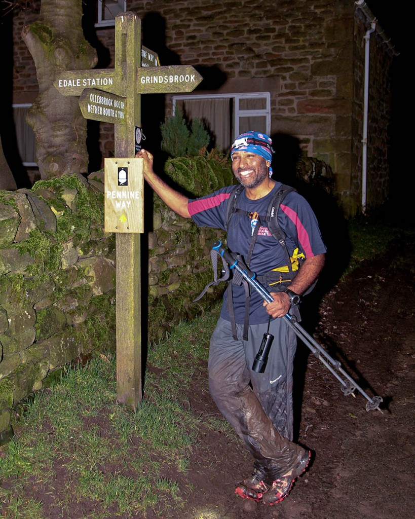 Javed Bhatti arrives at Edale at the end of his double Pennine Way run. Photo: John Bamber