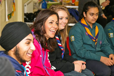 Julia talks to troop members at Southall
